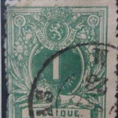 Sellos: SELLO, POSTES BELGICA, 1 C, ESCUDO, AÑO 1889, NO USADO. Lote 151314010