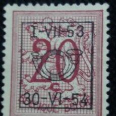 Sellos: SELLO, POSTES BELGICA, 20 CENTIMES, SOBREESCRITO, AÑO 1954 NO USADO. Lote 151529538