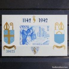 Sellos: BÉLGICA 1942 ~ ABADÍA DE ORVAL • EDICIÓN PRIVADA NUMERADO ~ HOJITA NUEVA MNH LUJO ~ CAT 85€. Lote 152762974