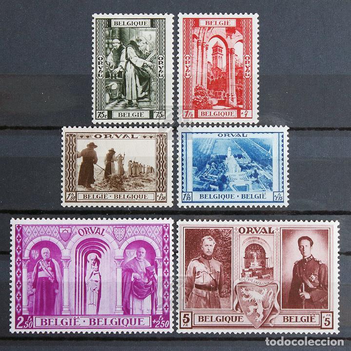 BÉLGICA 1939 ~ ABADÍA DE ORVAL ~ SERIE CON FIJASELLO BUENO (Sellos - Extranjero - Europa - Bélgica)