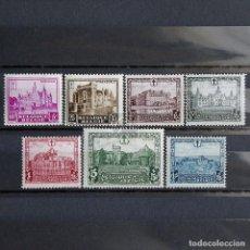 Sellos: BÉLGICA 1930 ~ ARQUITECTURA: CASTILLOS Y PALACIOS ~ SERIE CON FIJASELLO BUENO. Lote 153327126
