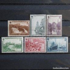 Sellos: BÉLGICA 1929 ~ PAISAJES ~ SERIE CON FIJASELLO BUENO. Lote 153332294