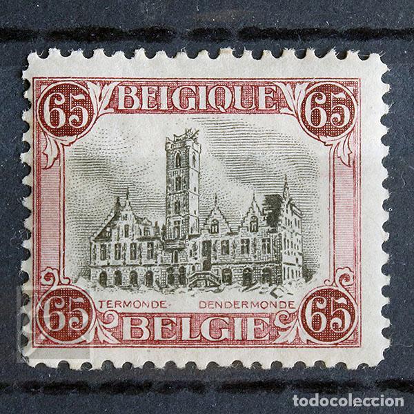 BÉLGICA 1920 ~ AYUNTAMIENTO DE DENDERMOND ~ SELLO CON FIJASELLO (Sellos - Extranjero - Europa - Bélgica)