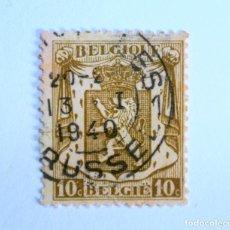 Sellos: SELLO POSTAL BELGICA 1936, 10 C , ESCUDO DE ARMAS CON LEON HERALDICO, USADO. Lote 154197658