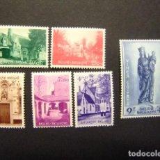Sellos: BELGICA BELGIQUE RESTAURATION BÉGUINAGE DE BRUGE 1954 YVERT 946 / 951 ** MNH. Lote 154752686