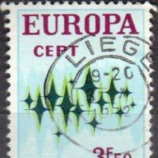 Sellos: BELGICA - UN SELLO - IVERT #1623 ***EUROPA Ç.E.P.T.*** - AÑO 1972 - USADO. Lote 156967690