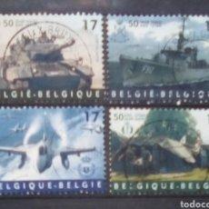 Sellos: BELGICA ANIVERSARIO OTAN TRANSPORTE MILITAR SERIE DE SELLOS USADOS. Lote 170271702