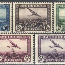 Sellos: BELGICA, AEREO 1930 YVERT Nº 1 / 5 /*/, AVIONES SOBRE CIUDADES BELGAS. Lote 178959166
