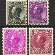 Sellos: BELGICA, 1934 YVERT Nº 390 / 393 /*/, REY LEOPOLDO III. Lote 178960776