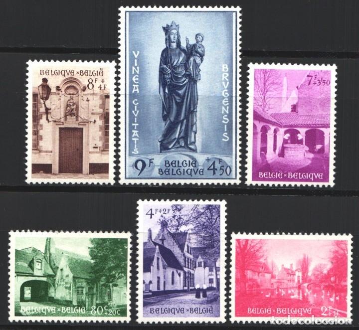 BELGICA, 1954 YVERT Nº 946 / 951 /*/, EDIFICIOS / ESCULTURAS, (Sellos - Extranjero - Europa - Bélgica)
