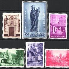 Sellos: BELGICA, 1954 YVERT Nº 946 / 951 /*/, EDIFICIOS / ESCULTURAS, . Lote 178962676