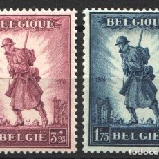 Sellos: BELGICA, 1932 YVERT Nº 351 / 352 /*/, MILITAR, GLORIA DE LA INFANTERÍA,. Lote 178962907