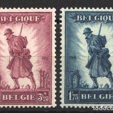 Sellos: BELGICA, 1932 YVERT Nº 351 / 352 /*/, MILITAR, GLORIA DE LA INFANTERÍA,. Lote 178962956