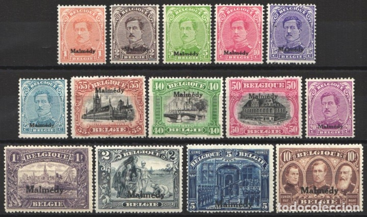 BELGICA, MALMEDY 1920 YVERT Nº 22 / 35 /*/, (Sellos - Extranjero - Europa - Bélgica)