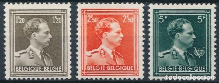 BELGICA 1956 Y&T 1005/7** LEOPOLDO III NUEVOS SIN SEÑAL DE FIJASELLOS (Sellos - Extranjero - Europa - Bélgica)