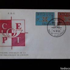 Sellos: BÉLGICA..YVERT 1260/1 SERIE COMPLETA. EUROPA CEPT. SOBRE PRIMER DÍA. 1963.. Lote 198505505