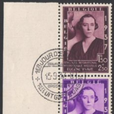 Sellos: BELGICA, 1937 YVERT Nº 457 A / 457 B, FUNDACIÓN MUSICAL QUEEN ELISABETH. Lote 199661512