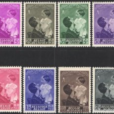 Sellos: BELGICA, 1937 YVERT Nº 447 / 454 /**/, RECUERDO REINA ASTRID, SIN FIJASELLOS . Lote 199663612