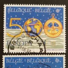 Sellos: BELGICA, TEMA EUROPA CEPT AÑO 1992 DESCUBRIMIENTO DE AMÉRICA, USADOS (FOTOGRAFÍA REAL). Lote 203231076