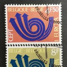 Sellos: BELGICA, EUROPA CEPT 1973 USADA (FOTOGRAFÍA REAL). Lote 204118642