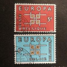 Francobolli: BELGICA, EUROPA CEPT 1963 COMPLETA Y USADA (FOTOGRAFÍA REAL). Lote 205568025