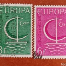 Sellos: BELGICA, EUROPA CEPT 1966 USADA (FOTOGRAFÍA REAL). Lote 212580157