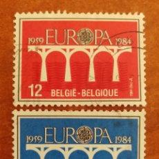 Sellos: BELGICA, EUROPA CEPT 1984 USADA (FOTOGRAFÍA REAL). Lote 213694538