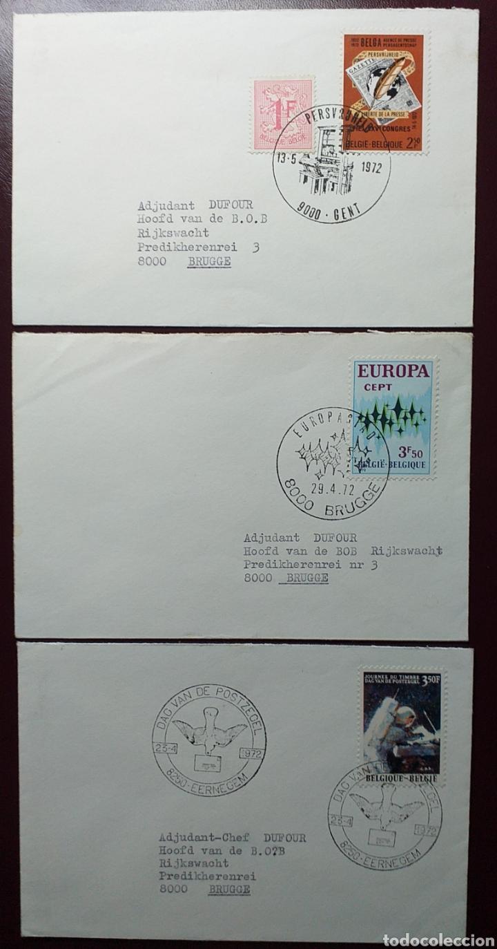 COLECCIÓN DE 3 SOBRES DE BÉLGICA DEL AÑO 72 (Sellos - Extranjero - Europa - Bélgica)
