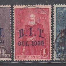 Sellos: BELGICA, 1930 YVERT Nº 305 / 307, OFICINA INTERNACIONAL DEL TRABAJO. BIT. OCT.1930. Lote 232886970
