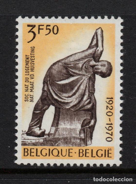 BÉLGICA 1554** - AÑO 1970 - ESCULTURA - OBRA DE GEORGER MINNE - SOCIEDAD NACIONAL DE ALOJAMIENTO (Sellos - Extranjero - Europa - Bélgica)