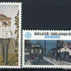 Sellos: BÉLGICA 1983 IVERT 2091/2 *** EUROPA - GRANDES OBRAS DEL GENERO HUMANO - IMPRENTA Y FERROCARRIL. Lote 237880025
