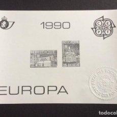 Sellos: BELGICA Nº YVERT 2367/8*** AÑO 1990. EUROPA. EDIFICIOS POSTALES. PRUEBA EN NEGRO. Lote 254284265