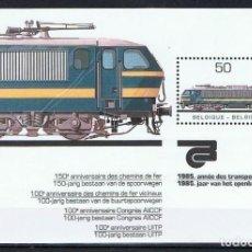 Sellos: BELGICA 1985 - LOCOMOTORA ELECTRICA - YVERT HB Nº 61**. Lote 255578740