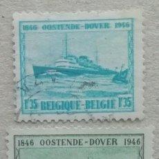 Sellos: 1946. BÉLGICA. 725 / 727. 100 AÑOS DE SERVICIO LÍNEA MARÍTIMA OSTENDE-DOVER. SERIE COMPLETA. USADO.. Lote 260025960