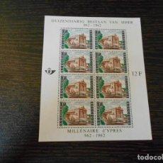 Sellos: BELGICA -HOJA BLOQUE-8 SELLOS IGUALES-MILENARIO DE LA CIUDAD DE YPRES-1962. Lote 261793700