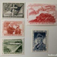 Sellos: BÉLGICA POR LA MEMORIAL DE GENERAL PATTON YVERT 1032/1036 DEL AÑO 1957 EN NUEVO**. Lote 276680463