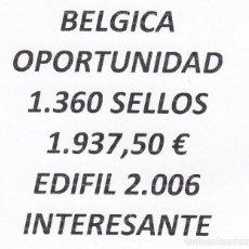 Sellos: INTERESANTE LOTE BÉLGICA, COMPUESTO POR 1.360 SELLOS, CON 1.937,50 € CATALOGO YVERT 2.006 +. Lote 277263733