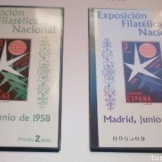 Sellos: 2 SELLOS EXPOSICION BRUSELAS 1958, SELLO SIN DENTAR, HOJA ORIGINAL. Lote 280109693