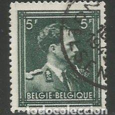 Sellos: BÉGICA - LEOPOLDO III - SELLO DE 5 FRANCS ESTAMPADO DE 1945 - USADO. Lote 295868708