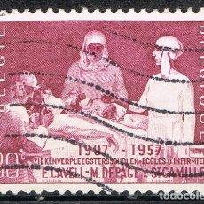 Sellos: [C0697] BÉLGICA 1957, 50 ANIVERSARIO DE LA ESCUELA DE ENFERMERÍA (U). Lote 296756863