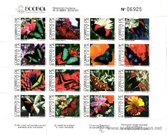 PLIEGO BOLIVIA MARIPOSAS 1993 (Sellos - Extranjero - América - Bolivia)