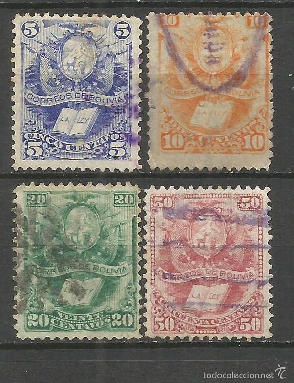 BOLIVIA 1878 YVERT NUM. 19/22 SERIE COMPLETA USADA (Sellos - Extranjero - América - Bolivia)