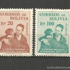 Sellos: BOLIVIA CORREO AEREO YVERT NUM. 153/154 ** SERIE COMPLETA SIN FIJASELLOS -COLOR EN LA GOMA-. Lote 57703344