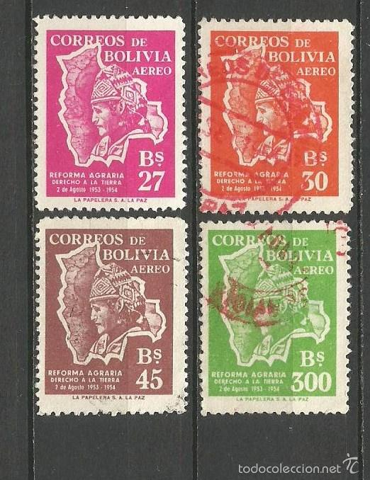 BOLIVIA CORREO AEREO YVERT NUM. 155/158 SERIE COMPETA USADA (Sellos - Extranjero - América - Bolivia)