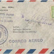 Sellos: BOLIVIA. 1950. HISTORIA POSTAL. CARTA VOLADA DESDE BOLIVIA A COLOMBIA.. Lote 67483445