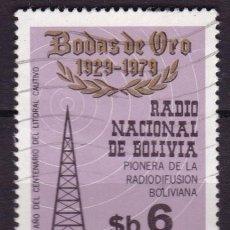 Sellos: BOLIVIA, 1979, 50 ANIVERSARIO DE LA RADIO NACIONAL DE BOLIVIA, USADO. Lote 72945769