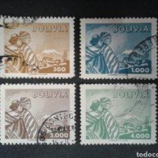 Sellos: BOLIVIA. YVERT 386/9. SERIE COMPLETA USADA.. Lote 97976852