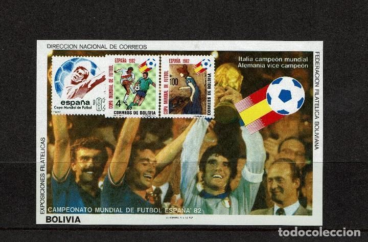 BOLIVIA. HOJA SIN DENTAR NUEVA SIN CHARNELA. DEPORTES. MUNDIAL DE FÚTBOL ESPAÑA 82. (Sellos - Extranjero - América - Bolivia)