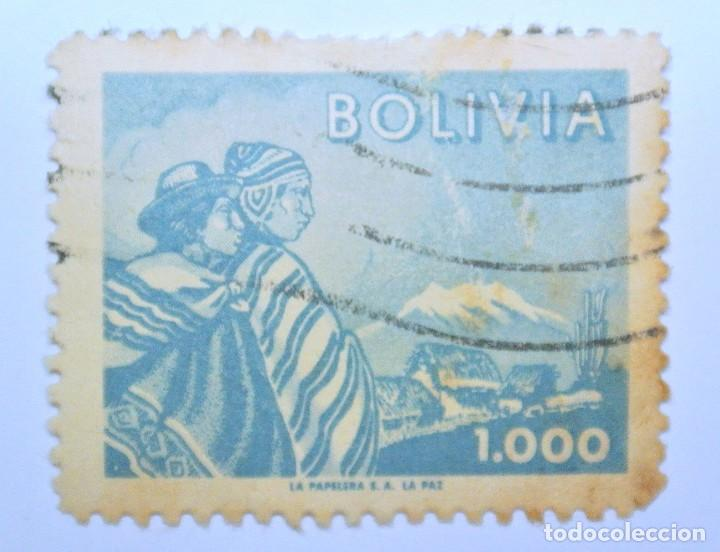 SELLO POSTAL BOLIVIA 1960, 1000 BS, INDIGENAS Y MONTE ILLIMANI , USADO (Sellos - Extranjero - América - Bolivia)