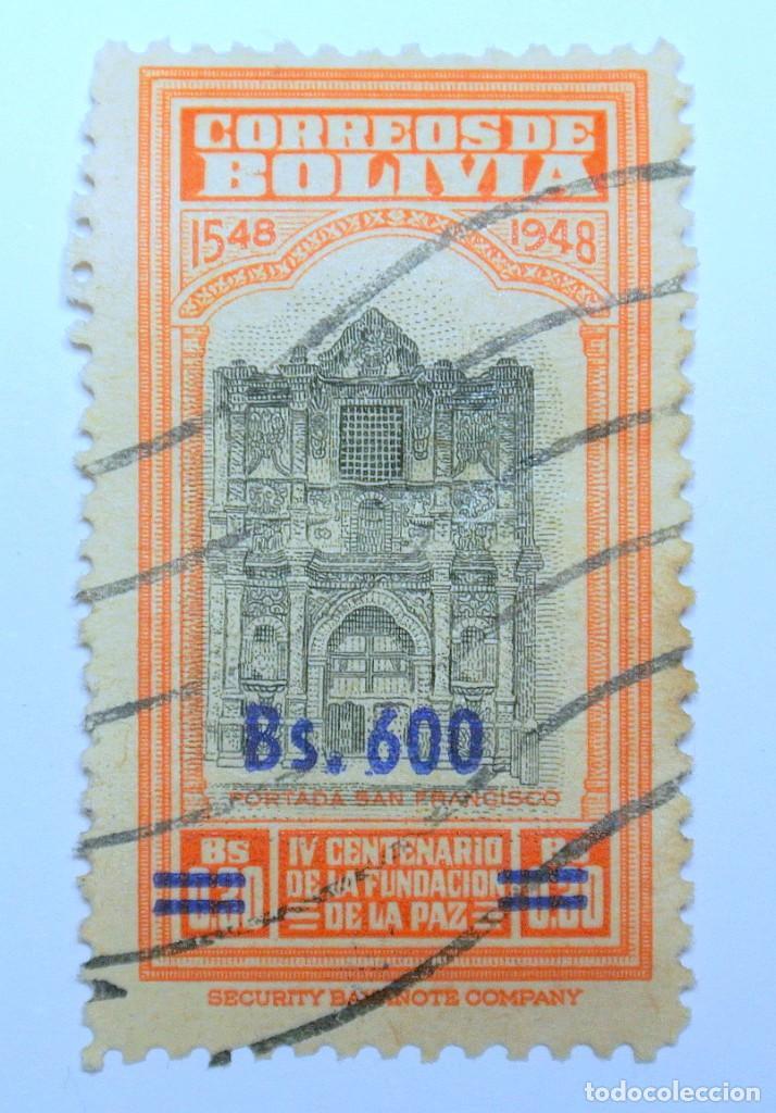 SELLO POSTAL BOLIVIA 1957, 600 BS, IV CENTENARIO DE LA FUNDACION DE LA PAZ , USADO (Sellos - Extranjero - América - Bolivia)